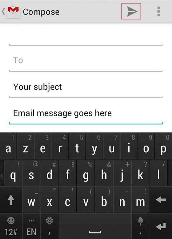 Android Mobile Gmail Screen