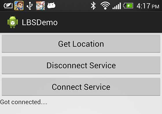 Android Mobile Location Screen