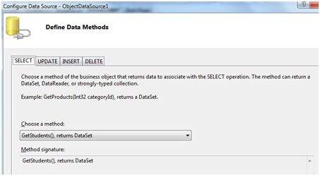Select a data method