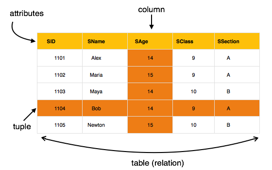Relational Model Table