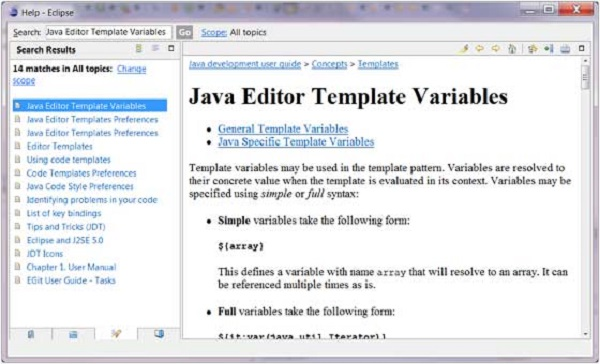 Java Editor Template Variables