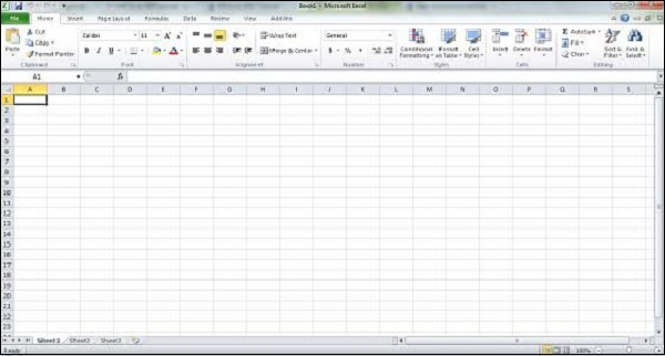 This will launch Microsoft Excel 2010 application and you will see the ...