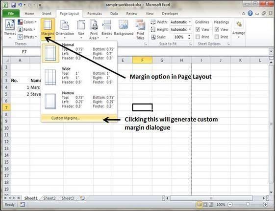 adjust margins in excel 2010