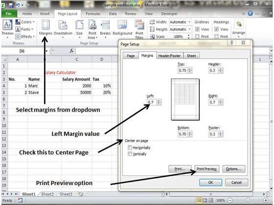 adjust margins in excel 2010. Black Bedroom Furniture Sets. Home Design Ideas
