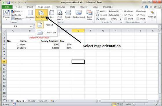 Page Orientation in Excel 2010