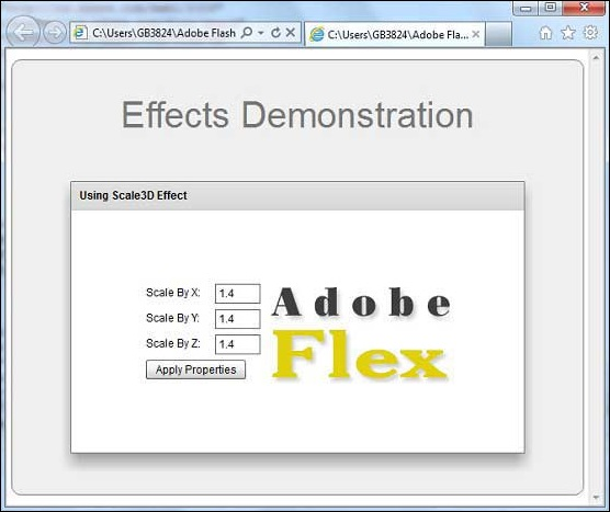 Flex Scale3D Effect