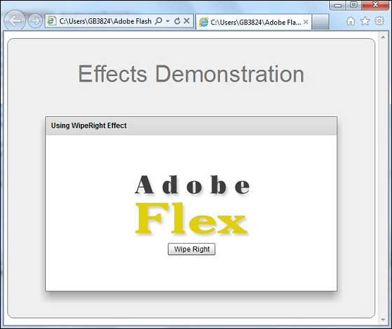 Flex WipeRight Effect