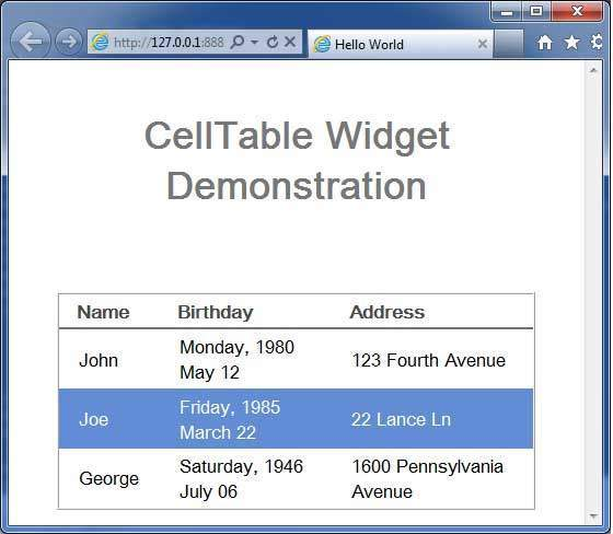 GWT CellTable Widget