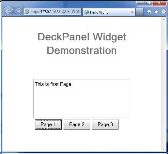 GWT DeckPanel Widget