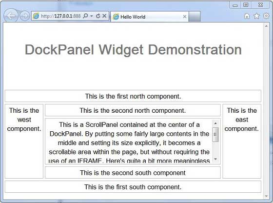 GWT DockPanel Widget