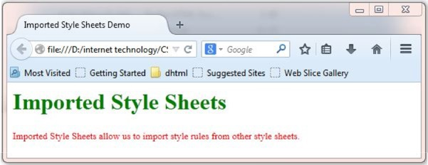 Imported Style Sheet