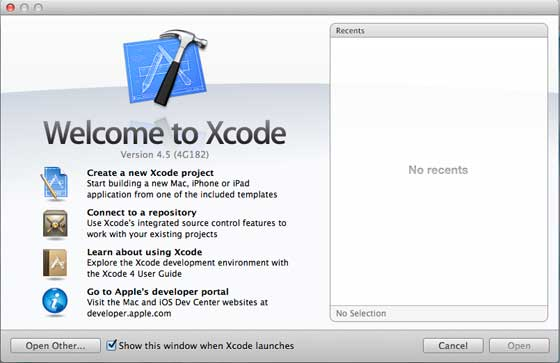 Xcode Welcome Page