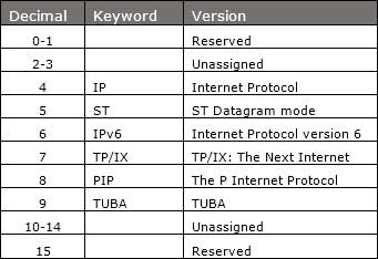 IPv6 Version Table