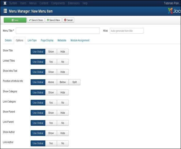 joomla Adding Menu Items