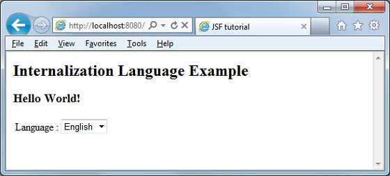 JSF Internationalization Result