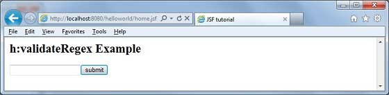 JSF f:validateRegex
