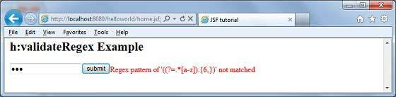 JSF f:validateRegex1