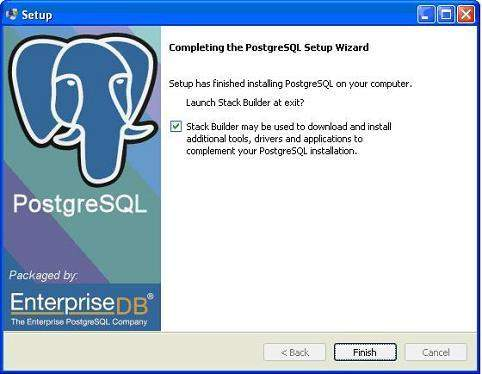 postgresql install finish