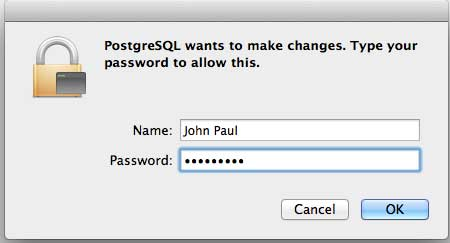 postgresql Password on Mac
