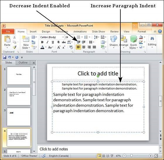 indent paragraphs in powerpoint 2010