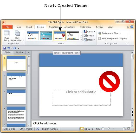 how to create a theme in powerpoint 2010
