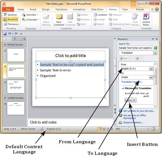 content translation in powerpoint 2010