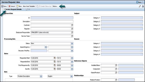 Sap Crm Service Request Management