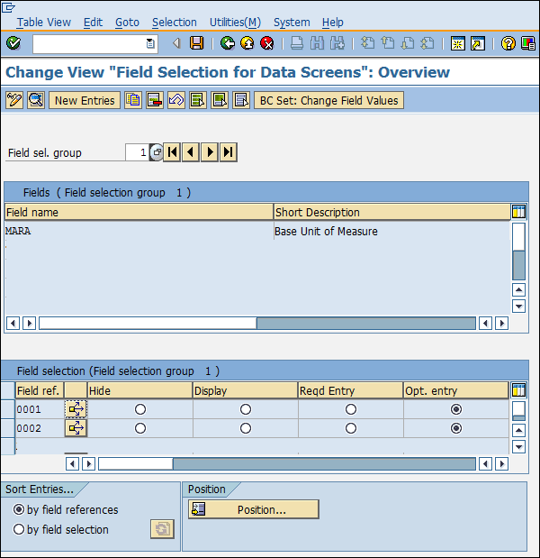 SAP Configuration field selection data screen entry