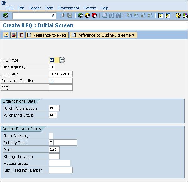 SAP RFQ initial