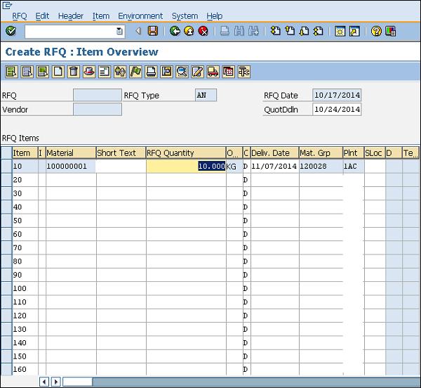 SAP rfq material
