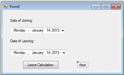 DateTimePicker Example Form
