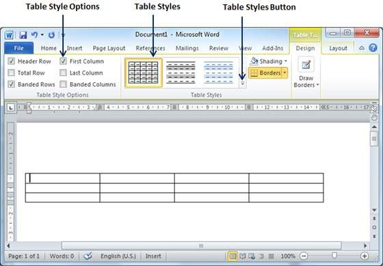Create a table in word 2010 for Table design ms word