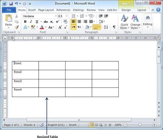 Resize a table in word 2010 for Table design ms word