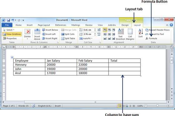 Add Formula to a Table in Word 2010