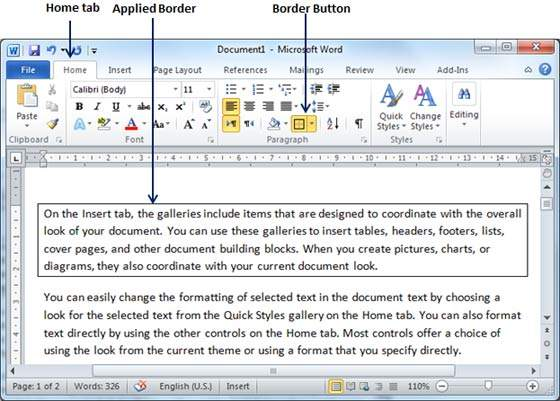 how to add a border in word 2010 mac