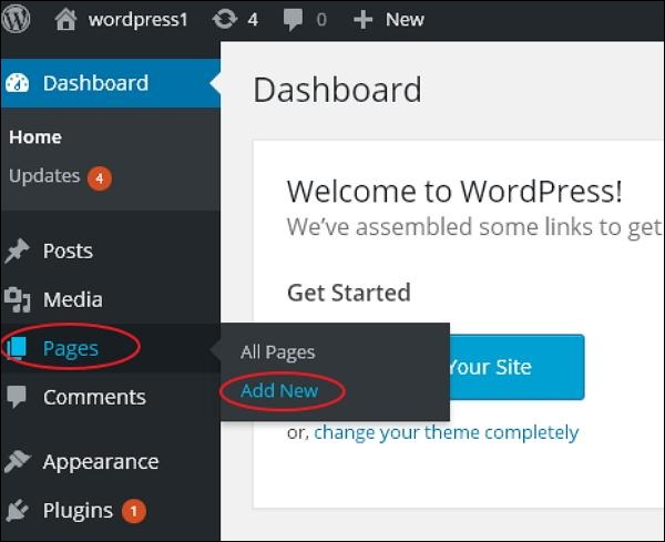 WordPress Add Pages
