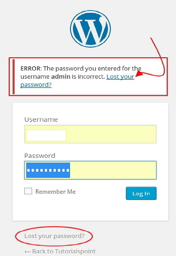 WordPress Reset Password