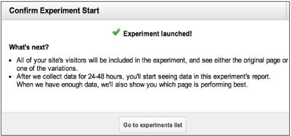 Confirm Experiment Start