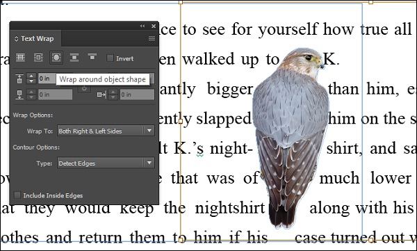 Adobe indesign cc text wrap and anchor objects in the following example we see that the text has been wrapped around the birds body contour publicscrutiny Choice Image