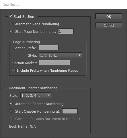 how to start page numbering on page 2 indesign cc