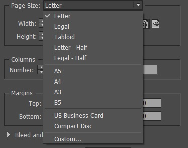 Adobe indesign cc create the first document you can choose from a set of default page sizes or define your own notice that the width and height will change automatically based on the chosen option reheart Choice Image