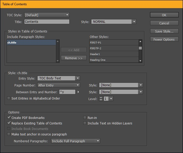 Adobe InDesign CC - Table of Contents - Tutorialspoint