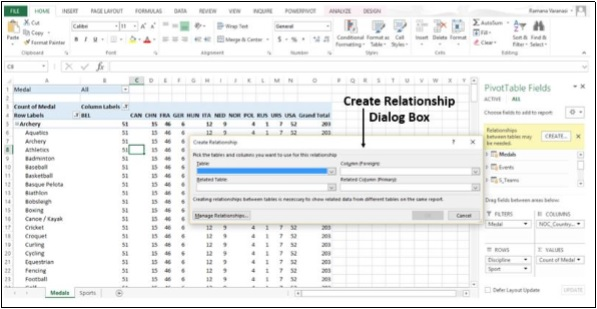 Create Relationship DialogBox