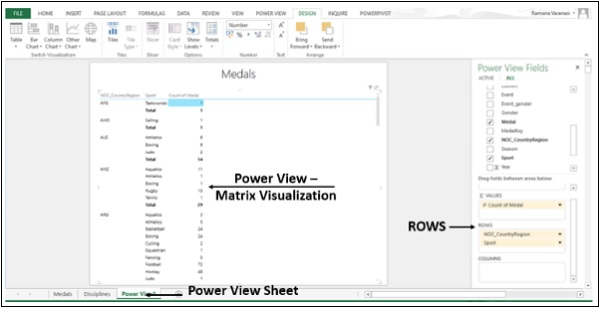 Power View Matrix Visualization