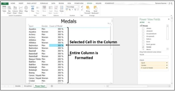 Selected Cell in Column
