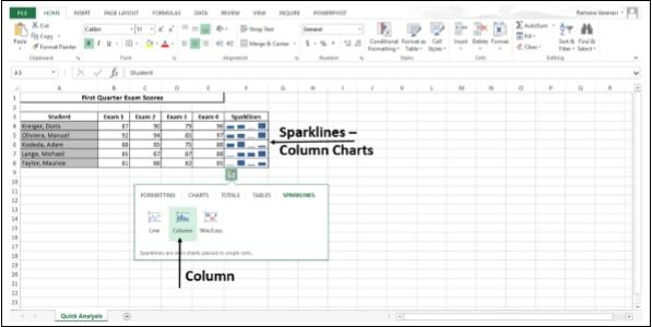 Sparklines Column Chart