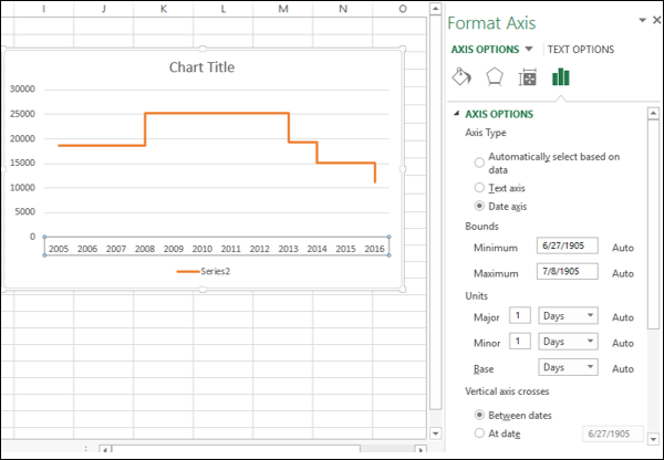 how to change the horizontal axis values in excel