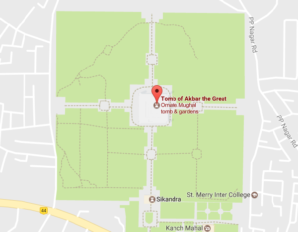 Akbar's Tomb Map