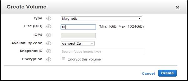 Create Volume Type Size