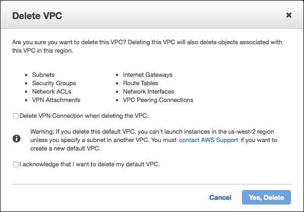 Delete VPC